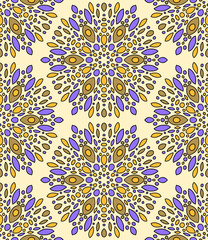 Abstract kaleidoscope seamless pattern in beige and violet