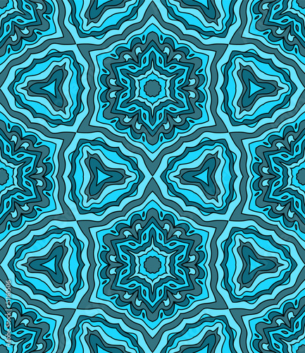 Abstract colorful kaleidoscope seamless pattern in blue, vector