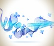 Abstract blue background with wave and butterfly