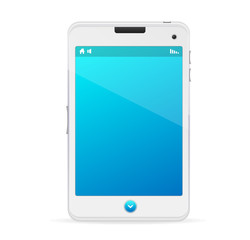 Realistic white mobile phone with blue screen