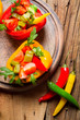 Fresh vegetables served in bell pepper