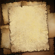 Illustration of old crumpled papers on dark wooden background.