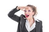 Junge Frau freut sich auf die Zukunft - isoliert - Geschäftsfrau