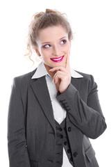 Jungunternehmerin isoliert - lachend im Business-Look