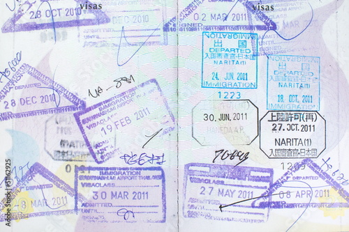 Passport stamps entering  Japan, Thailand