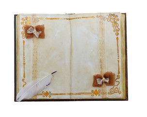 Vintage golden diary isolated