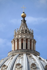 Saint Peter cathedral dome in Rome, Italy