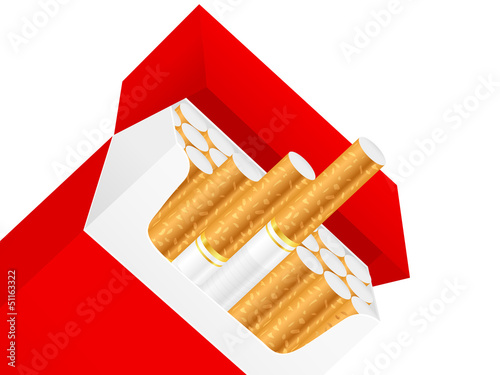 Cigarette box on a white background. Vector illustration.