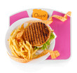 Hamburger, french fries on plate on scale isolated on white