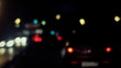 Defocused night car lights. Rainy weather.   Timelapse, hd