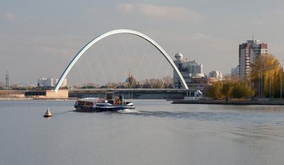View of the bridge over the river Ishim. Astana. Kazakhstan.