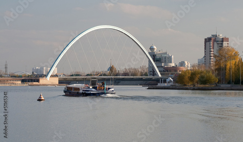 View of the bridge over the river Ishim. Astana. Kazakhstan.