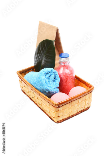 Gift spa concept with bath salt, towel and two salt balls