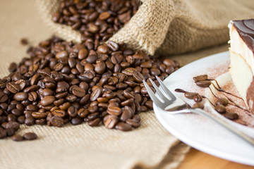 Cake and coffe beans