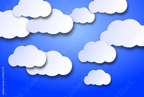 Papiers peints Ciel nuvolette di cartone su uno sfondo azzurro cielo