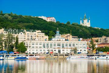 Киев.Вид на речной вокзал и Андреевскую церковь