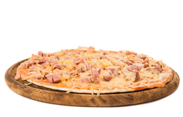pizza with salami isolated