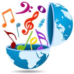 Ilustração - Música a sair do planeta Terra