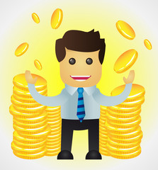 Successful business man with stacks of gold coins