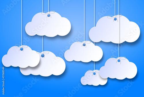 In de dag Hemel nuvolette di cartone su uno sfondo azzurro cielo