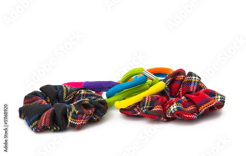 color elastic bands for hair isolated