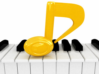 3d note and piano on a white background