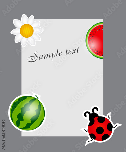 watermelon, ladybug, daisy on blank page vector illustration