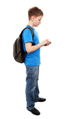 boy send text message with mobile phone