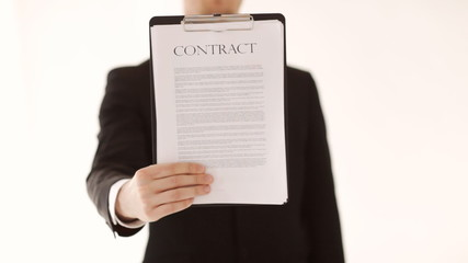 man showing a contract