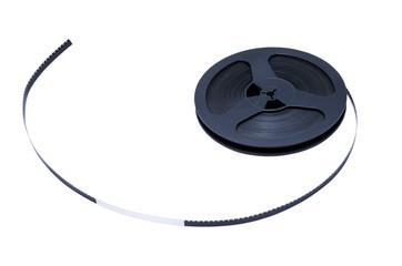 Катушка киноплёнки на белом фоне