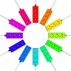 regenbogenbunte Steckdosen
