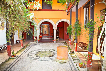 Typical andalusian courtyard In Seville, Spain.