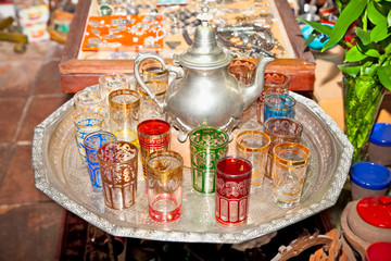 Typical arabian vintage silver teapots with glasses in Cordoba,