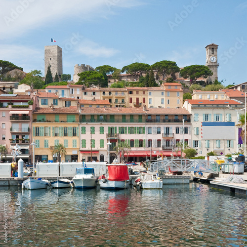Old city and harbor in Cannes, France