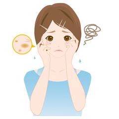 女性 肌のトラブル シミ 皺