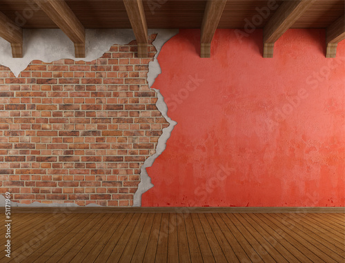 Grunge room with old cracked wall
