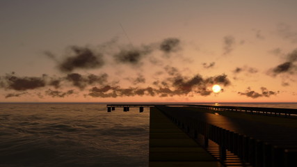 Pier in Ocean at sunset, time lapse clouds, camera panning