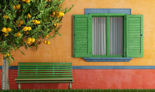 canvas print picture Old house with green  windows bench and tree