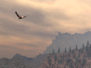Eagle upon the mountain - 3D render