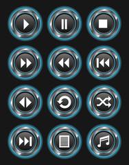 Blue Glowing Metallic Media Buttons