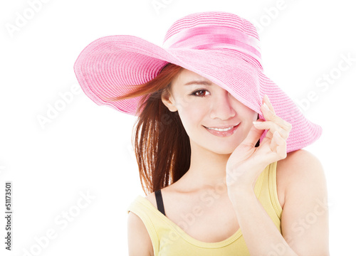 smiling summer woman isolated on white