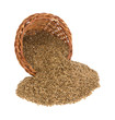 Flaxseed spilling from basket