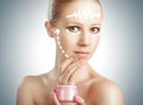 concept skincare. Skin of beauty woman with facelift, plastic su poster