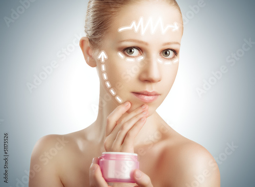 concept skincare. Skin of beauty woman with facelift, plastic su