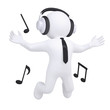 3d man with headphones in the jump