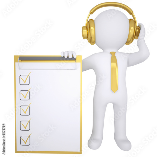 3d white man in gold headphones