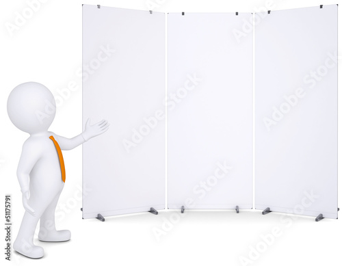 3d man shows up on white poster