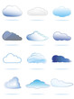 Collection of different clouds from white to blue