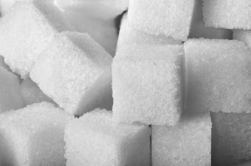 Closeup of sugar cubes