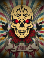 Creative picture of a skull in a retro style